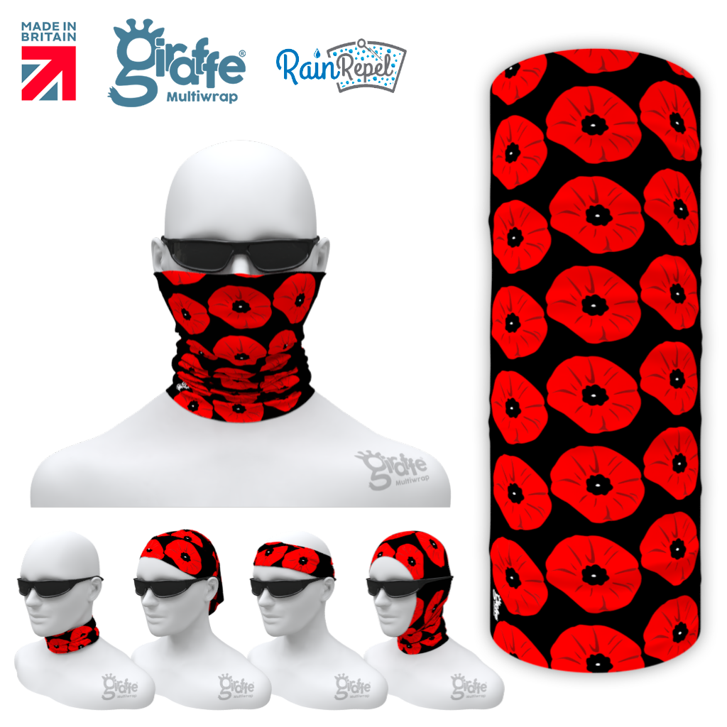Remembrance Day Poppy 05 Multi-functional head-wear bandana tube