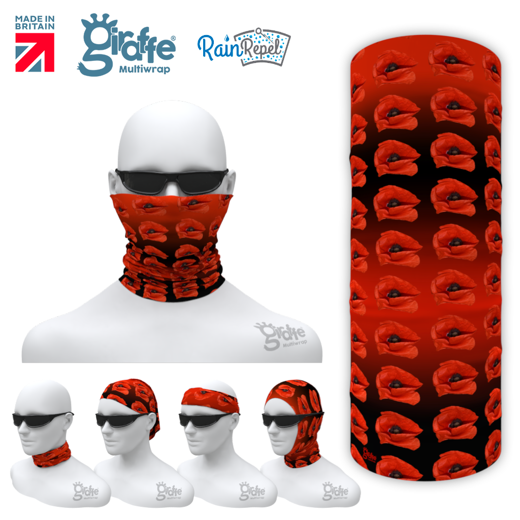 Remembrance Day Poppy 07 Multi-functional head-wear bandana tube