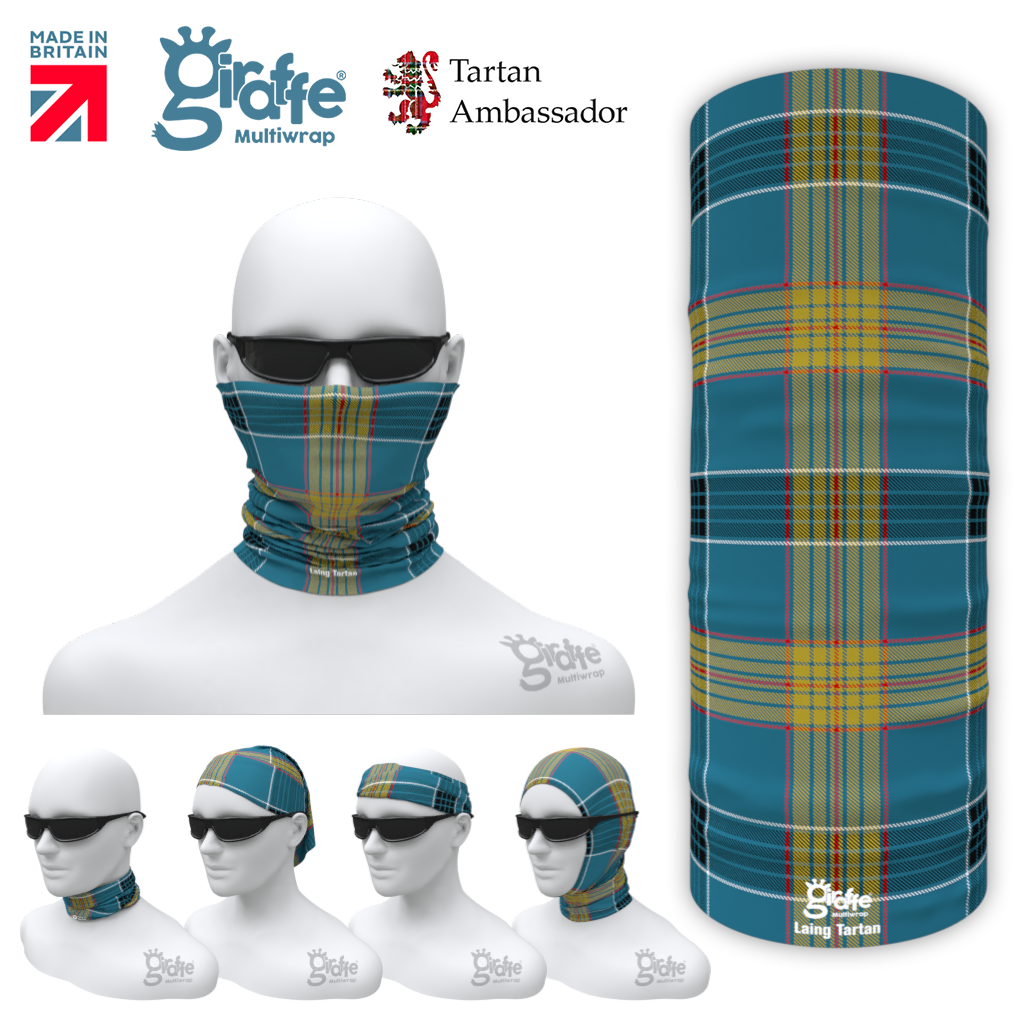 Laing Clan Tartan Scottish Bandana snood Multi-functional  headwear ski bike run sport