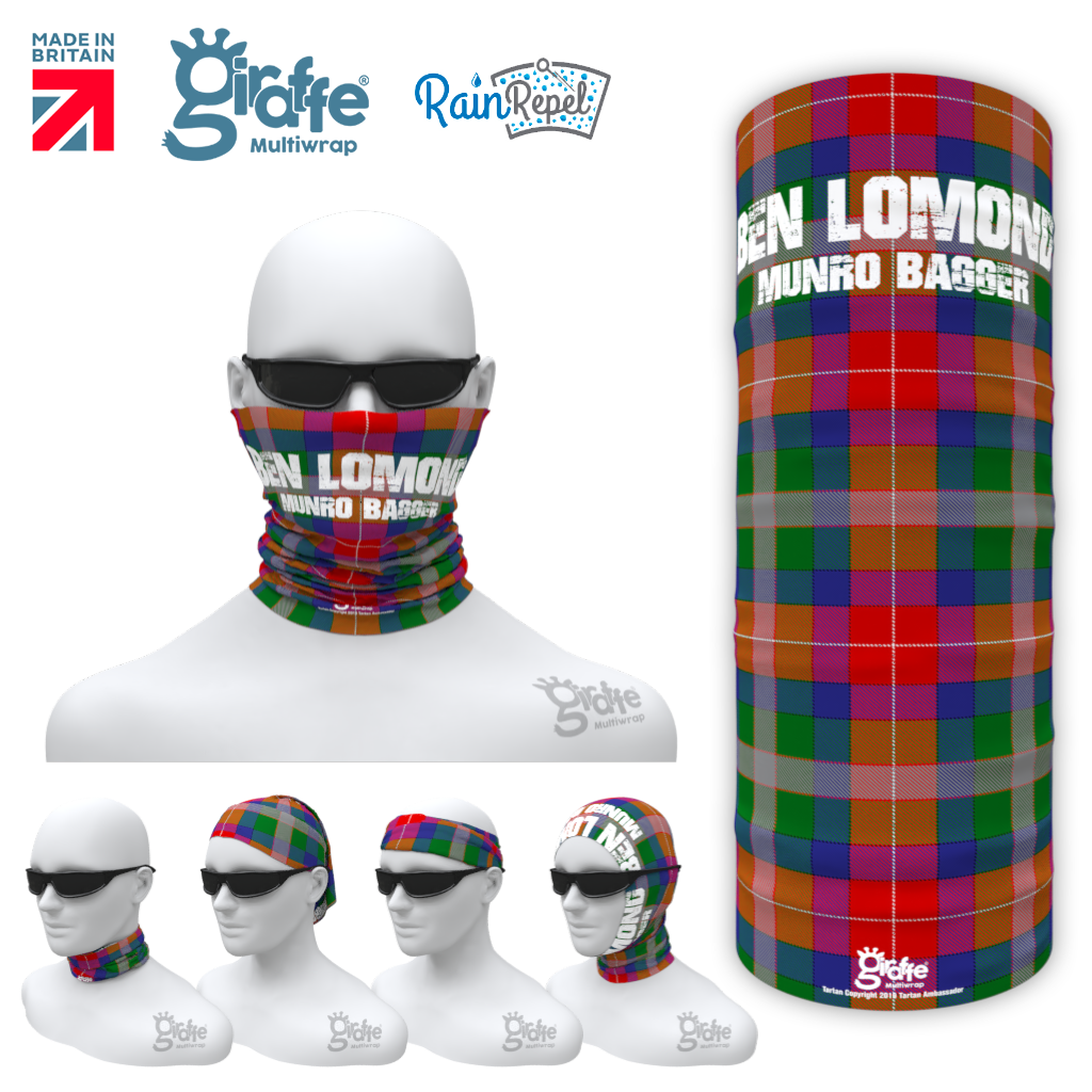 Ben Lomond Munro bagger Tartan Scottish highlands Bandana snood Multi-functional  headwear climbing walking
