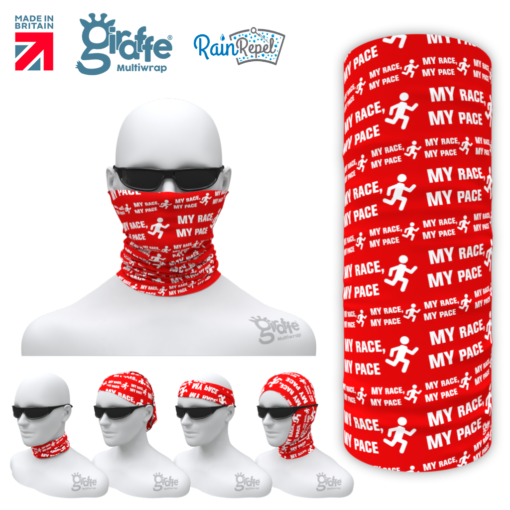 VLM My Race My Pace Red  Multi-functional Bandana snood multiwrap