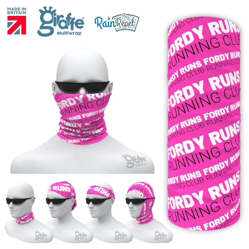 Fordy Runs Running Pink Club Multi-Functional Bandana Snood Multiwrap
