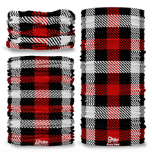 G-734 Crazy Black Red Check Plaid Tartan Seamless Tube Bandana Snood Multifunctional multiwrap Giraffe headwear
