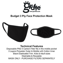 Large Adult Male  - 3 Ply Fabric Face Mask with filter option. Washable and resuable. Mask only