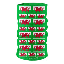 Nano Weave Wales Welsh Flag Multi-functional face protection. Seamless Tube Bandana