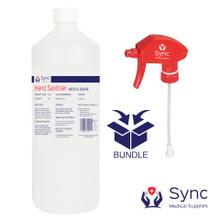 1 Litre Textile Surface Sanitiser with mist Spray nozzle.  80% Alcohol.