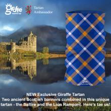 Here's tae us! Scotland Saltire tartan flag Seamless Seamless Tube Bandana Snood Multifunctional multiwrap Giraffe headwear