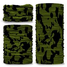 GCAM-3 Camo Splash reversible plain green inside camouflage Multi-functional bandana headwear multiwrap snood