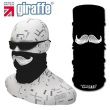 G454 Moustache Face Mask Black Tube  Bandana