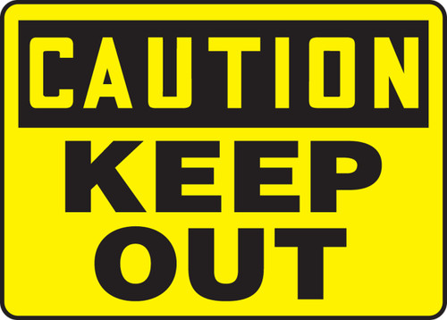 "Accuform MADM608VP Plastic Caution Safety Sign: Keep Out (10"" X 14"")"