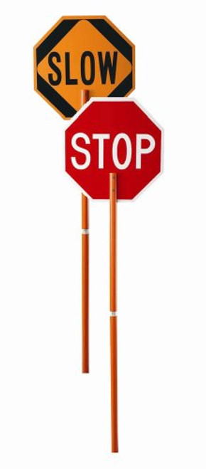 """Cortina 03-822P ABS Plastic Pole Sign """"STOP/SLOW"""" 106"""" Height"""