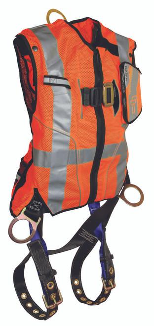 FallTech 7018O Orange Hi-Vis Vest and Premium Contractor Harness
