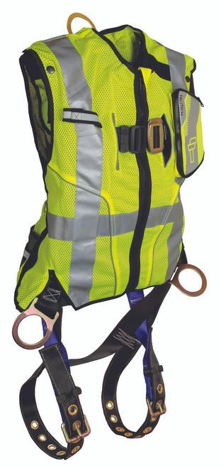 FallTech 7018 Lime Hi-Vis Vest and Premium Contractor Harness