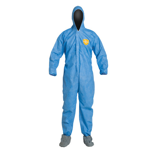 Dupont PB122SB Blue Basic Coverall with Hood and Shoe Covers (25/Case)