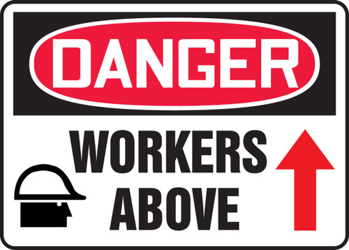 "Accuform MEQM234VP Danger Safety Sign: Workers Above (7"" x 10"")"