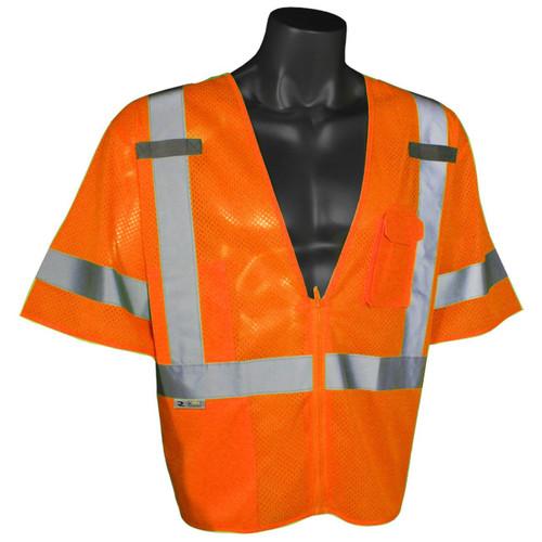 Radians SV3ZOM Class 3 Orange Safety Vests with Zipper