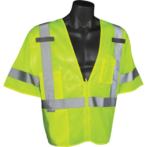 Radians SV3ZGM Class 3 Green Safety Vests with Zipper