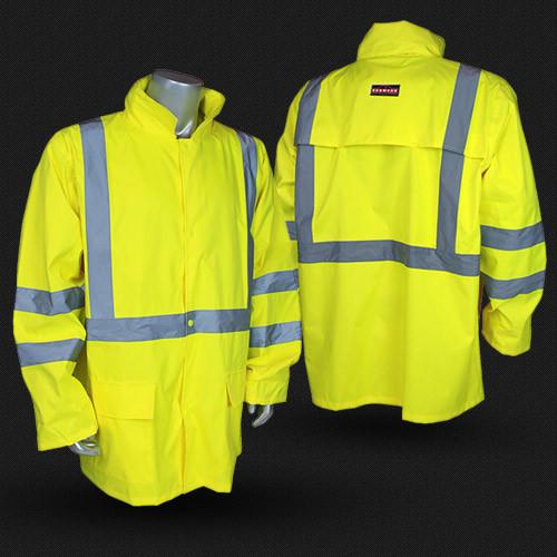 Radians RW10-3S1Y HI-VIS JACKET Lightweight Rain Lime Hi-Viz Jacket