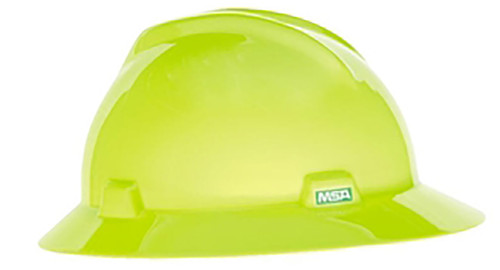 MSA 10061515 Heavy Duty Hi-Viz Lime V-Gard Standard Hard Hat