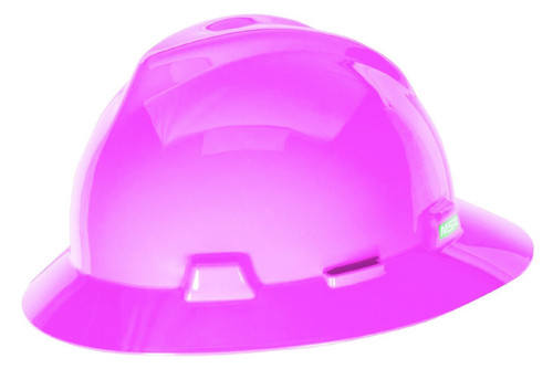 MSA 10156373 Pink Full Brim Hard Hat with Fas-Trac III