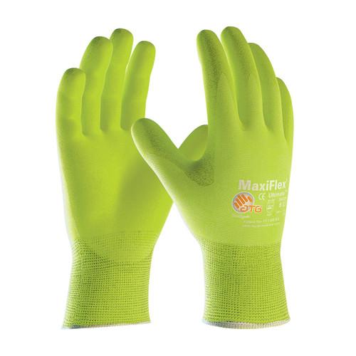 MaxiFlex 34-874FY Hi-Vis Glove with Nitrile Micro-Foam Grip (Dozen)