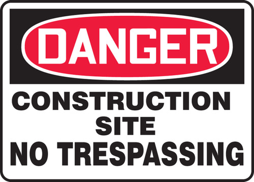 "Accuform MCRT026VP Danger Safety Sign: Construction Site (14"" x 20"")"
