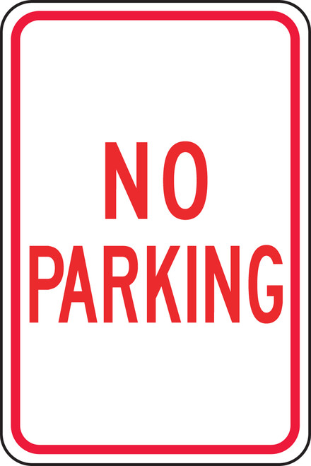 "Accuform FRP110RA Reflective Aluminum Traffic Sign: No Parking (18"" x 12"")"