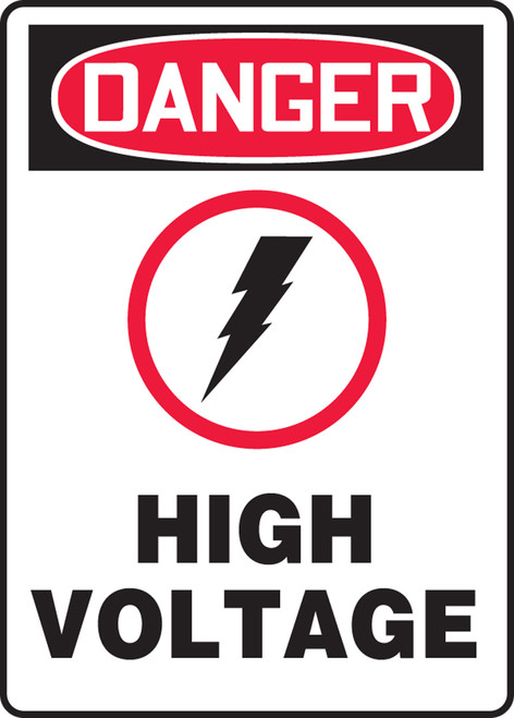 "Accuform MELC154VP Danger Safety Sign: High Voltage Graphic (14"" x 10"")"