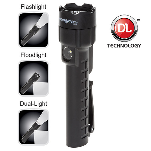 Bayco NSP-2422B Dual-Light Black Flashlight with Dual Magnets