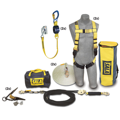 DBI SALA 7611907 Roofer's 2 Person Fall Protection Kit HLL 50'