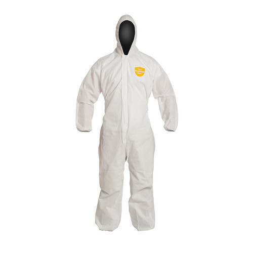 Dupont PB127SW White Basic Coverall with Hood and Zipper (25/Case)