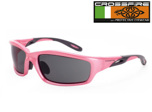 Crossfire 22528 Safety Glasses with Dark Smoke Lens and Pink Frame