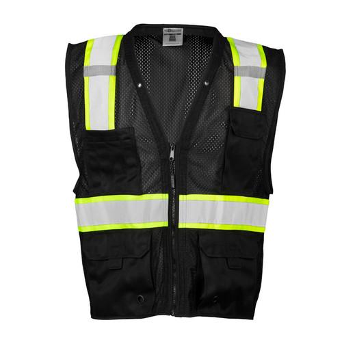 ML Kishigo B100 Black/Lime Enhanced Visibility Multi Pocket Mesh Vest