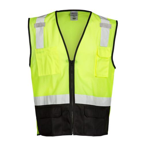 ML Kishigo 1509 Class 2 Lime Black Bottom Mesh Vest