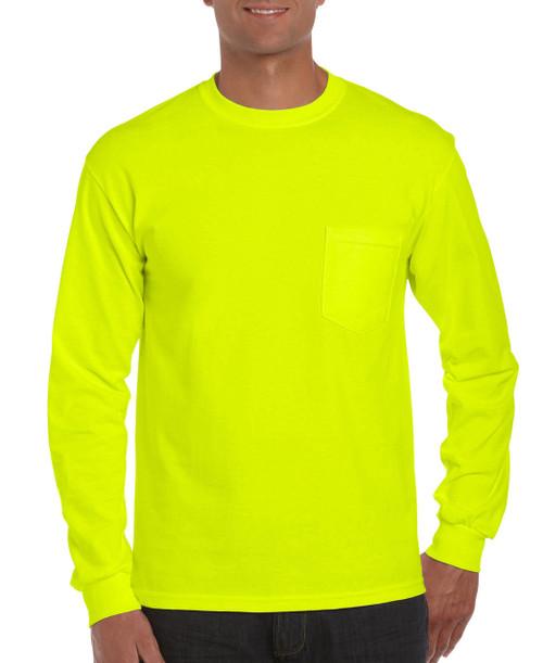 Gildan G2410L Lime Mens Classic Long Sleeve Pocket T-Shirt