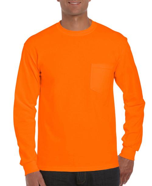 Gildan G2410O Orange Mens Classic Long Sleeve Pocket T-Shirt