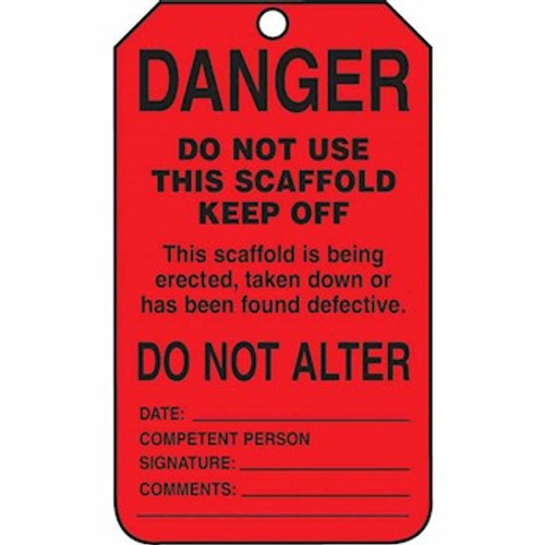 Accuform TSS101CTP Scaffold Status Safety Tag: Danger Do Not Use This Scaffold (25/PK)