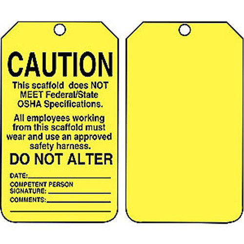 Accuform TSS102CTP Caution This Scaffold Does Not Meet Federal/State OSHA (25/PK)