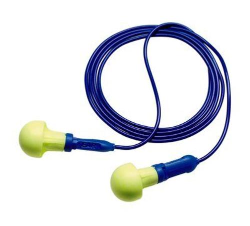 3M E-A-R Push-Ins Earplugs 318-3000, Metal Detectable, Corded, Poly Bag (200 Pr/Box)