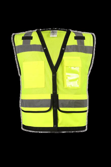 ML Kishigo S5008 Class 2 Lime Surveyor Vest with Pockets and Snaps