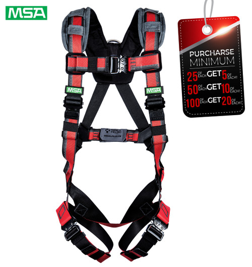 MSA 10155575 EVOTECH Lite Harness, Back D-Ring, Quick Connect leg straps, X-Large (XLG)