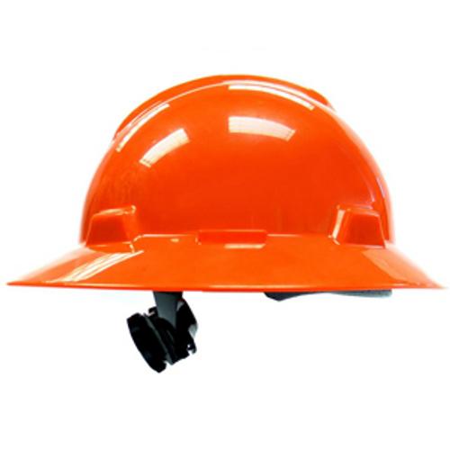 MSA 496075 V-Gard Orange Full Brim Hard Hat with Fas-Trac Suspension