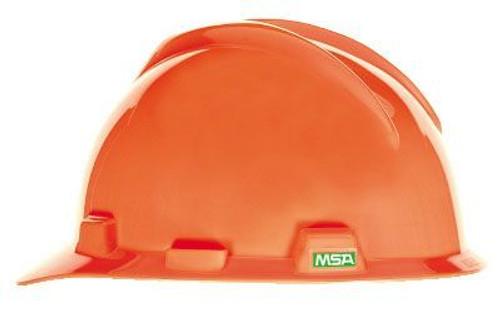 MSA V-Gard Slotted Cap Hi-Viz Orange With Fas-Trac III Suspension