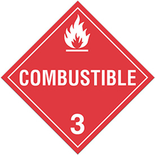 "GHS Safety TA310SS 10.75"" x 10.75"" Rigid Plastic Sign Combustible 3"
