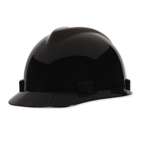 MSA 475235 V-Gard Black Hard Hat with Staz-On Suspension (Cap Style)