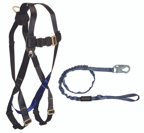 FallTech CMBO78259L Harness and Shock Absorbing Lanyard Combo