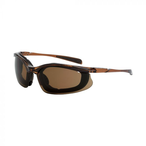 CrossFire Concept Safety Glasses Brown Foam Lined Frame Brown Anti-Fog Lens