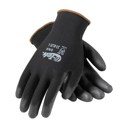G-Tek 33-B125 Black Nylon Gloves with Polyurethane Grip (Dozen)