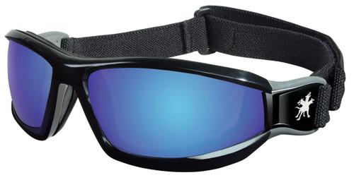 MCR RP118B Reaper Goggle Black head band w/ Blue Diamond Mirror Lens (Dozen)