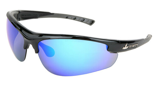 MCR DM1218B Dominator Black Frame w/ Gray TPR Blue Diamond Mirror Lens (Dozen)